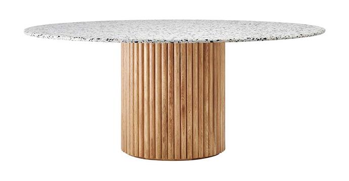 "**Cosmos Dining Table, $2495, [Life Interiors](https://lifeinteriors.com.au/collections/dining-tables/products/life-interiors-cosmos-dining-table-oak-cosmos-150cm|target=""_blank""