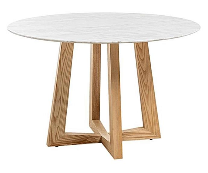 "**Hendrell Round Marble Dining Table, $1449, [Zanui](https://www.zanui.com.au/Hendrell-Round-Marble-Dining-Table-198858.html|target=""_blank""