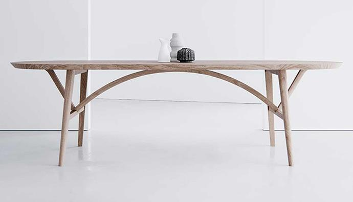 "**The 'Bridge' Dining Table, from $10 955, [HK Edit](https://hkedit.com.au/collections/tables/products/the-bridge-dining-table|target=""_blank""