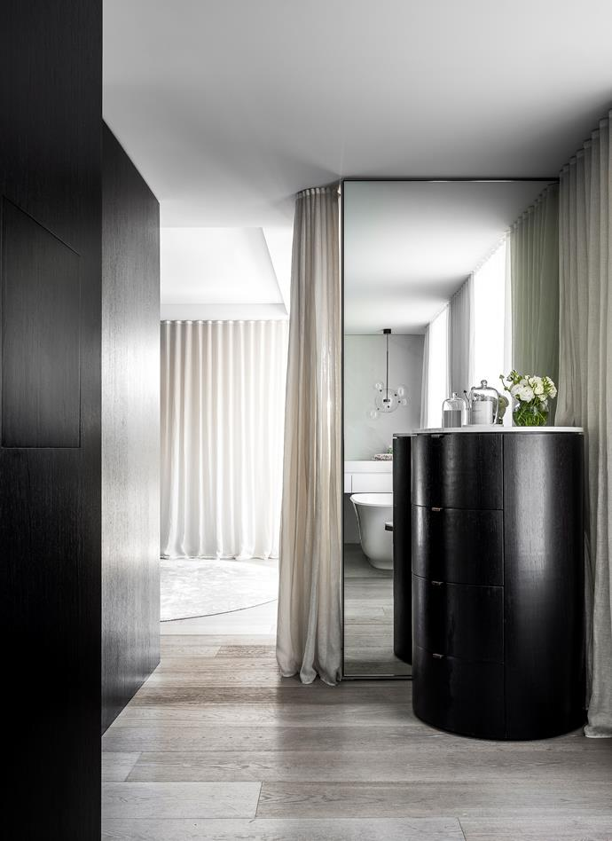 Drum tables and custom mirrors, Sublime Custom Cabinetry. Curtains by Simple Studio (throughout).
