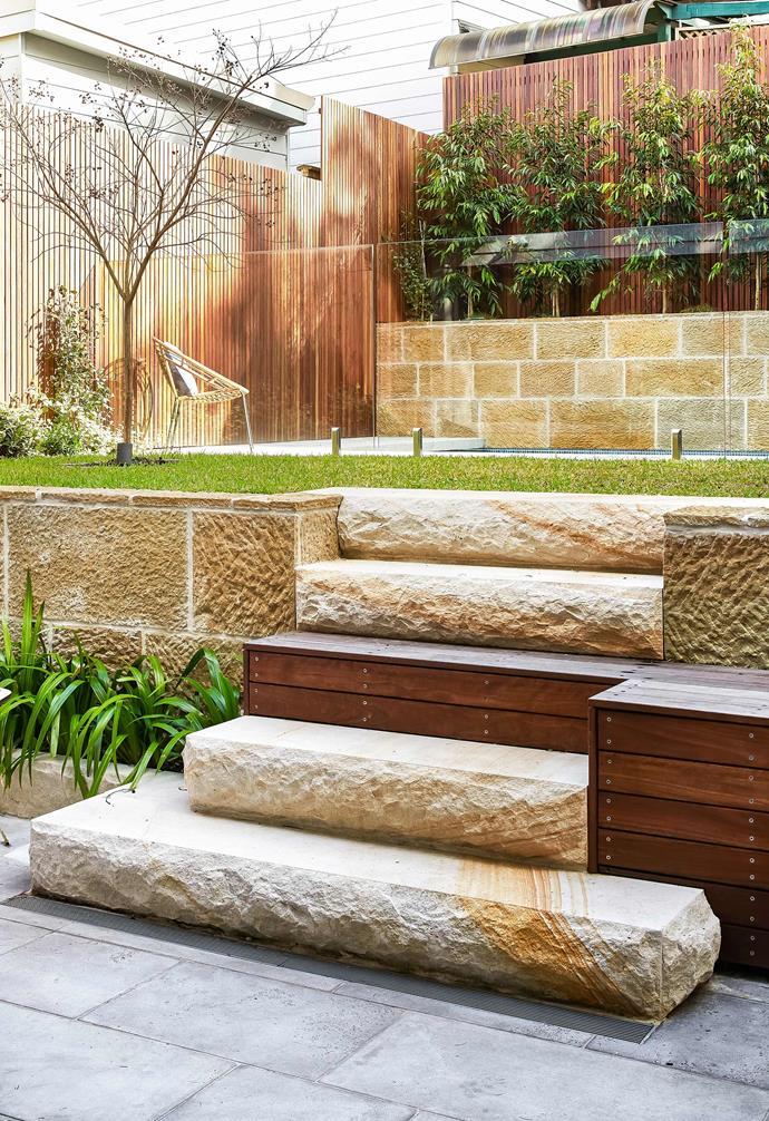 "**Backyard** Designed by [Spirit Level](https://spiritlevel.com.au/|target=""_blank""|rel=""nofollow""), the backyard is zoned with Balmain Sandstone from [Sydney Tile Gallery](https://www.sydneytilegallery.com.au/|target=""_blank""|rel=""nofollow""). Timber step and bench, spotted-gum hardwood finished with Cutek oil."