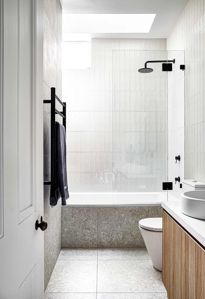 **Bathroom** A strategically placed skylight helps to flood the bathroom with natura llight.