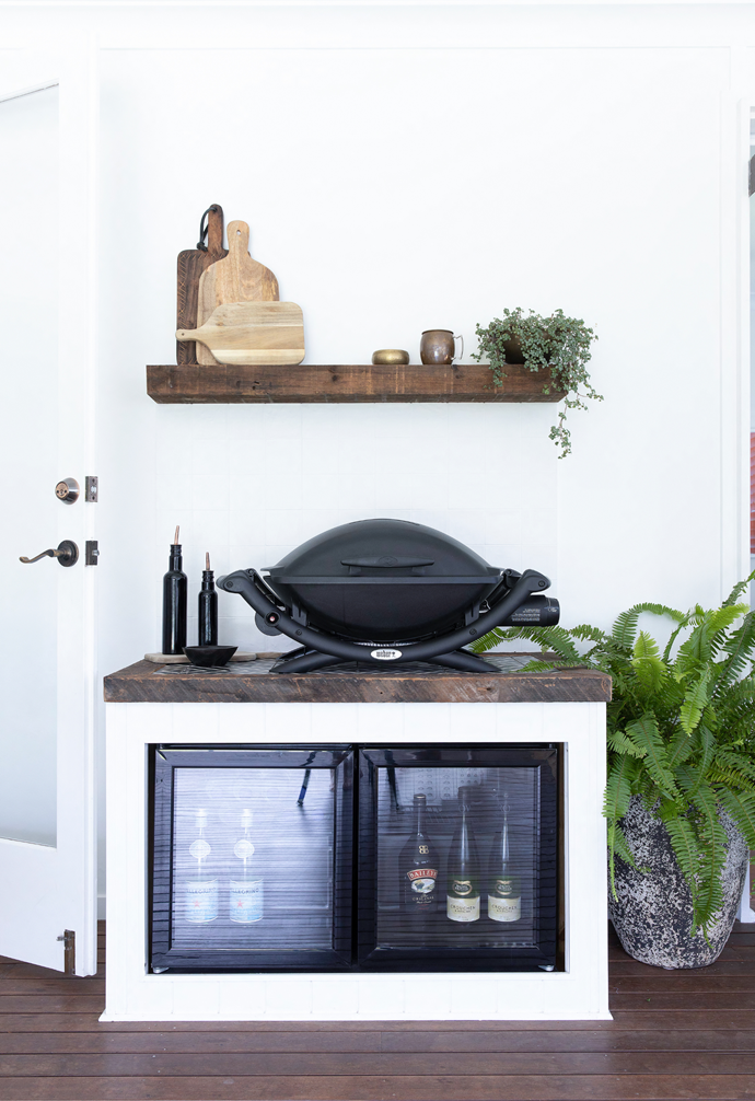 A Weber and handy fridge are the perfect tools for outdoor entertaining.