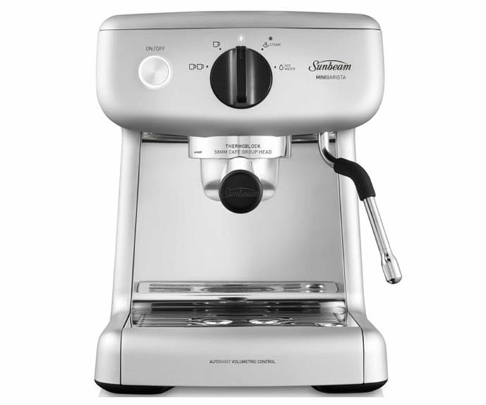 "**Sunbeam Mini Barista Espresso Machine, $269, [Harvey Norman](https://www.harveynorman.com.au/sunbeam-mini-barista-espresso-machine-silver.html|target=""_blank""