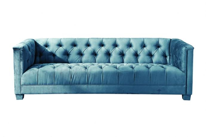"""**'Bellagio' 3-seat sofa in blue, $1,196 (reduced from $2635), from [Interiors Online](https://interiorsonline.com.au/products/bellagio-3-seat-sofa