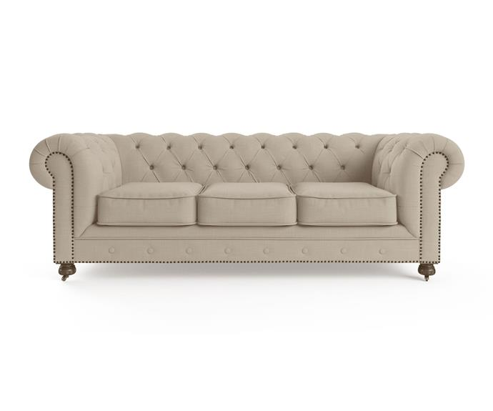 """**'Camden' Chesterfield 3 seater sofa, $1599, from [Brosa](https://www.brosa.com.au/products/camden-chesterfield-3-seater-sofa