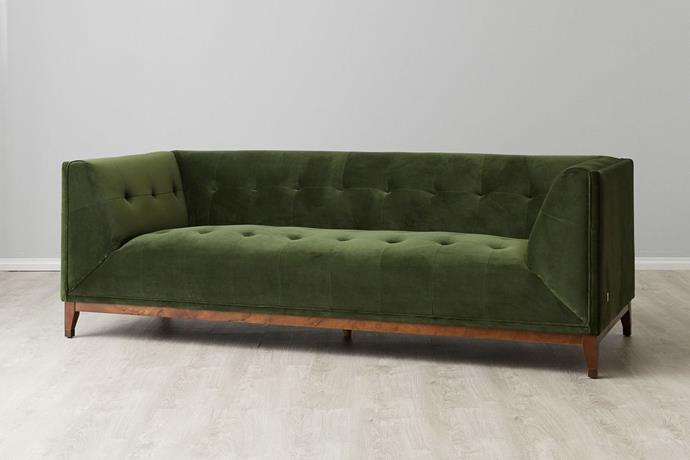 """**'Humphrey' 3-seater sofa in green velvet, $1299 (reduced from $2598), [Koala Living](https://www.koalaliving.com.au/catalog/product/view/id/1774/s/humphrey-3s-sofa/category/184/