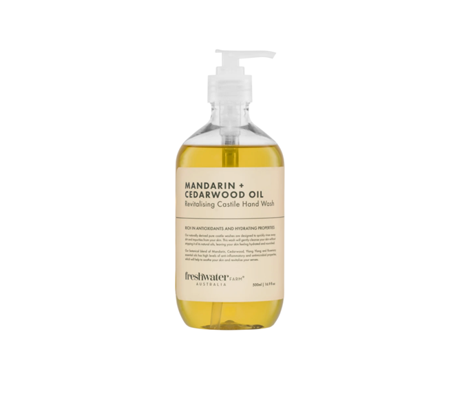 """Infused with mandarin, cedarwood, ylang ylang, and rosemary essential oils, and abscent of any nasty chemicals, this beautiful little cocktail of scents from Freshwater Farm is the epitome of affordable luxury.  <br><br> Freshwater Farm Mandarin + Cedarwood Oil Revitalising Castile Hand Wash Clear 500ml, $14, [Zanui](https://www.zanui.com.au/Mandarin-Cedarwood-Revitalising-Castile-Hand-Wash-500ml-195412.html?utm_source=googleshopping&utm_medium=price_comparison&utm_content=zanui&utm_campaign=products&wt_pc=au.price_comparison.googleshopping.products.zanui.ad&gclid=Cj0KCQiA4feBBhC9ARIsABp_nbWQ7p4ohGFyScAmYGkFgB597JNegCJqRH25fSNwAqfDamE-Y-e8FZoaAqi-EALw_wcB