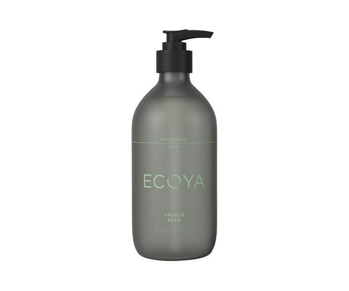 """Fresh and fruity, the Ecoya French Pear hand and body was is a daily bathroom necessity. The affordable and chic option is housed in a soft olive green bottle that will bring a little colour to your home and keep you smelling sweet.  <br><br> ECOYA French Pear Hand & Body Wash, $25.95, [Myer](https://www.myer.com.au/p/ecoya-hand-body-wash-french-pear