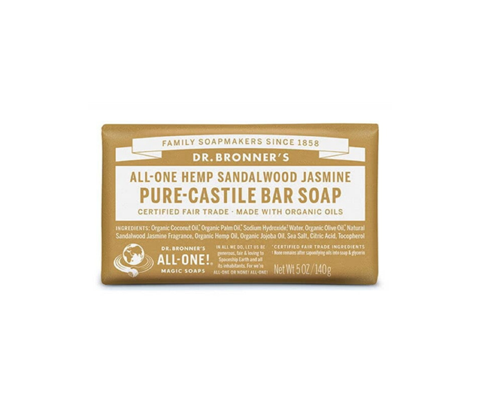 """Dr. Bronner's fair trade organic bar soap is a vegan and vegetable based creation. As it lathers easily and is suitable for the whole body - including hair! - it's the multitasking soap that we didn't know we needed.  <br><br> Dr. Bronner Castile Bar Soap – Sandalwood & Jasmine 140g, $9.85, [Adore Beauty](https://www.adorebeauty.com.au/dr-bronner-s/dr-bronner-castile-bar-soap-sandalwood-jasmine.html