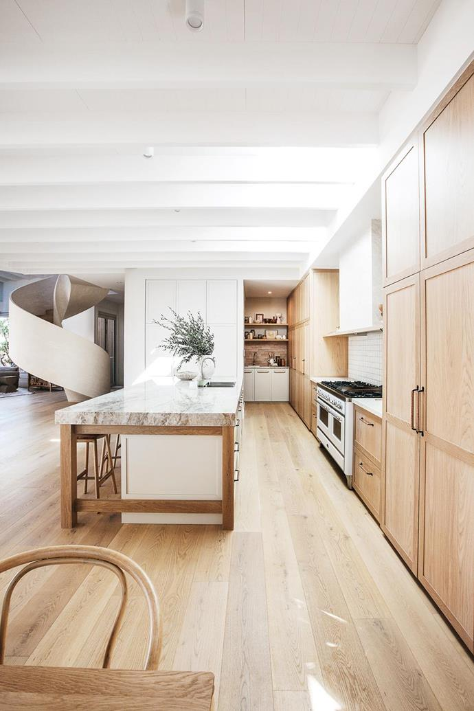 """Kyal and Kara put an Australian spin on Mediterranean style when renovating their [NSW central coast home](https://www.homestolove.com.au/kyal-and-kara-new-home-21483