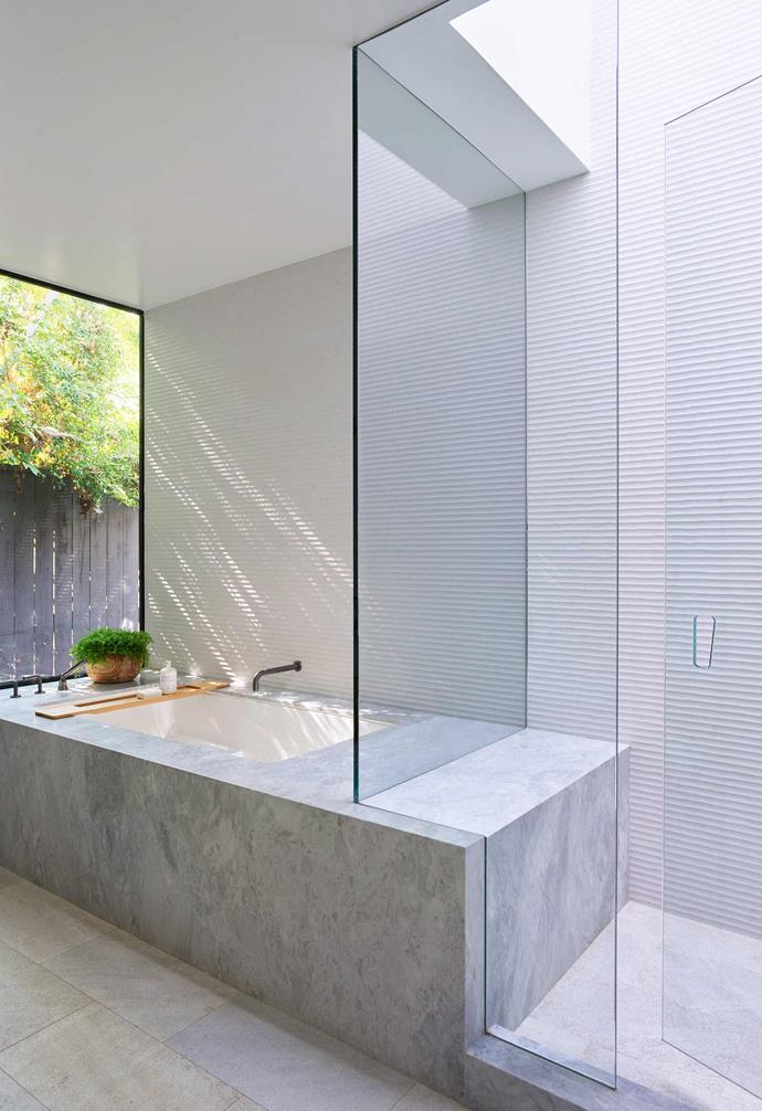 """**Ensuite** Ample marble adds a luxurious look throughout. Marble bathtub and benchtop, [Modul Marble](https://modulmarble.com/