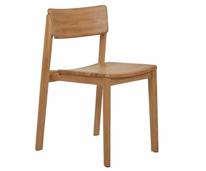 """**Sketch Poise Dining Chair, $645, [GlobeWest](https://www.globewest.com.au/browse/sketch-poise-dining-chairs target=""""_blank"""" rel=""""nofollow"""").**<br><br>As far as classic dining chair styles go, you can't look further than GlobeWest's Sketch Poise dining chair. Available in a light oak and black onyx colourway, the stackable timber dining chair features a pared-back Scandinavian-style design that makes it an ideal and versatile choice for any style of dining room."""