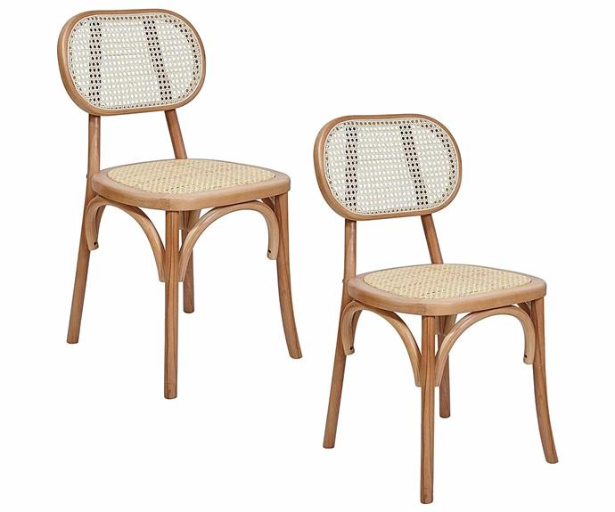 """**Correia Rattan Dining Chairs, $499/set of 2, [Zanui](https://www.zanui.com.au/Correia-Set-of-2-Rattan-Dining-Chairs-198134.html