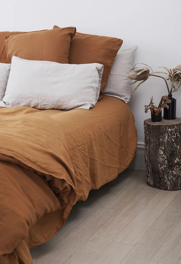 "Mix and match coloured linens on the bed but be sure to wash them separately. [Carlotta + Gee](https://www.carlottaandgee.com/collections/french-linen-duvet-covers/products/duvet-cover-in-tobacco|target=""_blank""