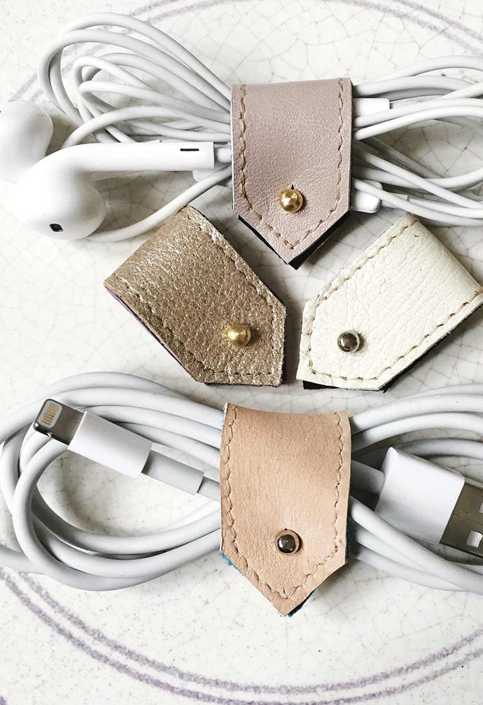 """Chic cable organisers like these stylish leather ones from [By Law London](https://www.etsy.com/shop/bylawlondon/