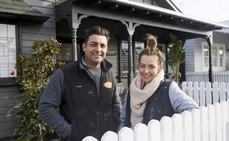 The Block 2021 contestants Ronnie and Georgia in front of a renovated house