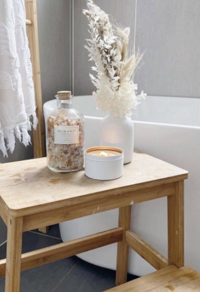 """**Bathroom retreat** <br><br> This simple timber stool from Kmart turned [@lifeof.ashleigh's](https://www.instagram.com/lifeof.ashleigh/