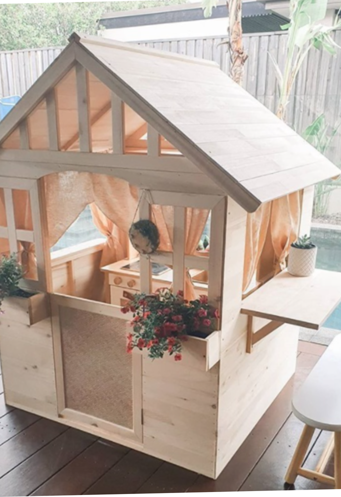 """**Upscale Cubby house** <br><br> Kmart's wooden cubby houses fly off the shelves, and from @[wyld_roma's](https://www.instagram.com/wyld_roma/