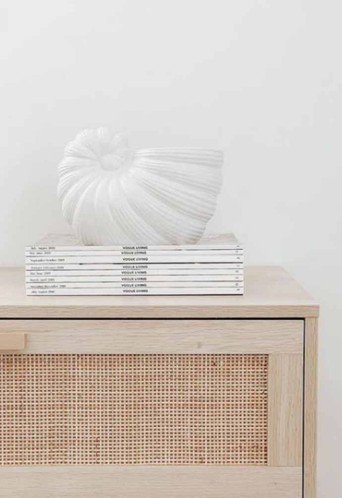 """**Planter becomes art** <br><br> Sometimes a pot is too pretty to need a plant, and that's certainly the case for Kmart's shell planter that [@thesweetapplelife](https://www.instagram.com/thesweetapplelife/