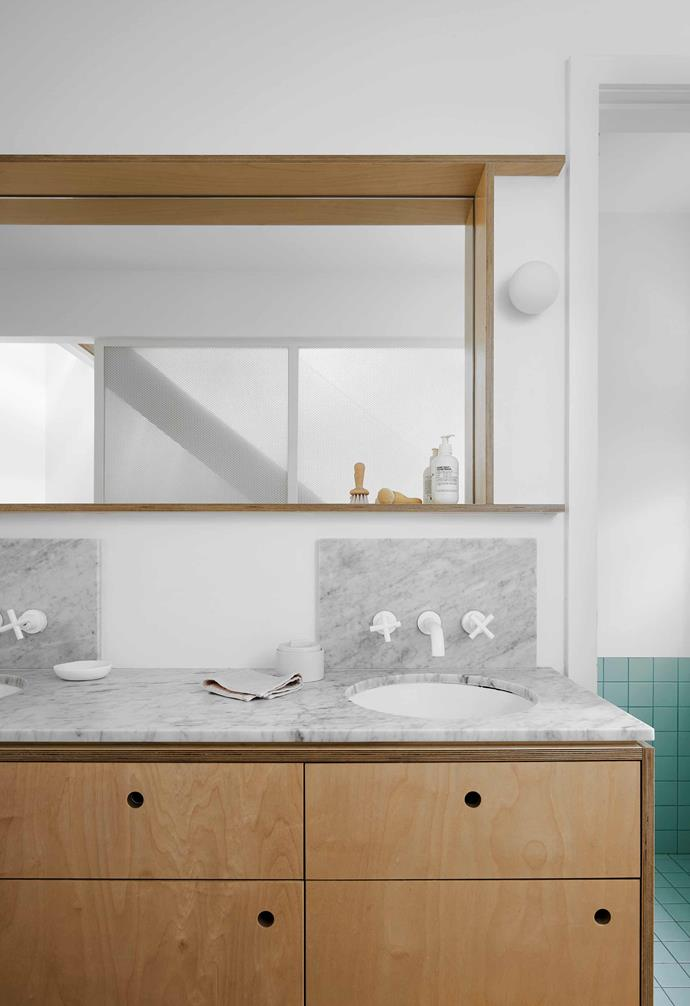 "**Bathroom** This double-basin vanity is in the corridor on the first floor, just outside the shower zone. Like the island bench in the kitchen, it's Carrara marble with White Birch Multiply from [Eco-Core](http://www.ecocore.com.au/|target=""_blank""