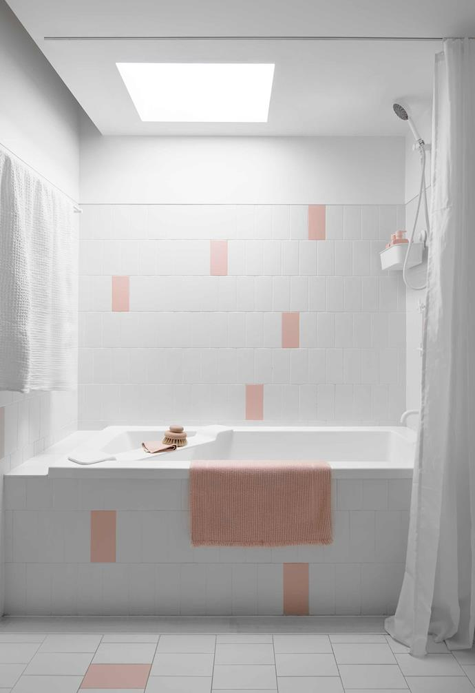"**Ensuite** At the top of the house is this cute pink and white bathroom. System Interni tiles in Rosa (pink) and Ghiaccio (white), [Ceramica Vogue](https://www.ceramicavogue.com/|target=""_blank""