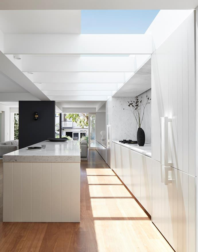 """""""A large skylight brings ever-changing light into the house, and shadow and light move across the marble surfaces throughout the day,"""" says designer Madeleine Blanchfield. """"This kitchen is simple but beautifully detailed and has transformed the home."""""""