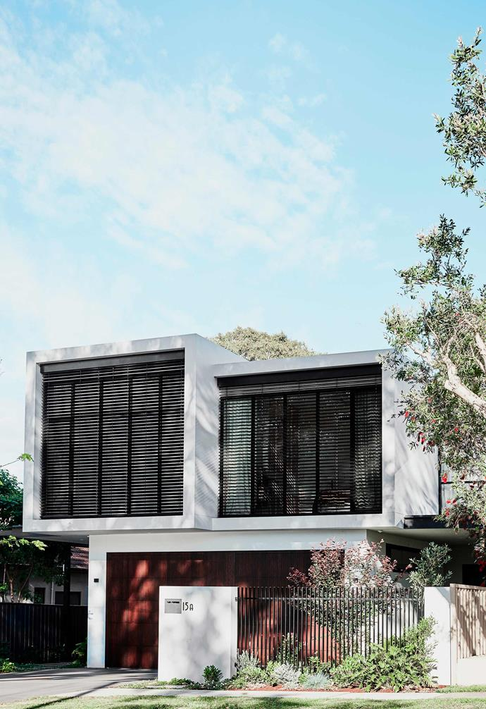 "**Exterior** Emma chose a bold palette of black, white and crimson to accentuate her home's box-like architectural forms. The first floor features [Maxim Louvres](https://www.maximlouvres.com.au/|target=""_blank""