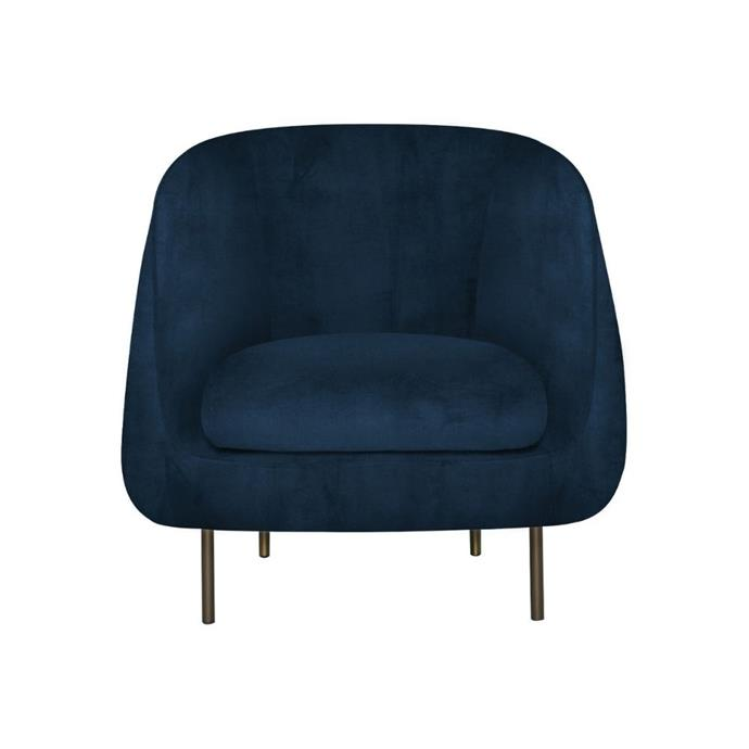 "**'Tubbi' velvet armchair, $749, [Freedom](https://www.freedom.com.au/product/23772410|target=""_blank""