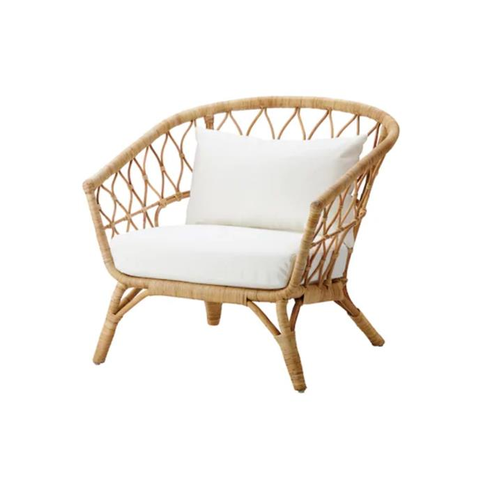 "**Stockholm 2017 armchair with cushion, $349, [Ikea](https://www.ikea.com/au/en/p/stockholm-2017-armchair-with-cushion-rattan-roestanga-white-s29207123/|target=""_blank""