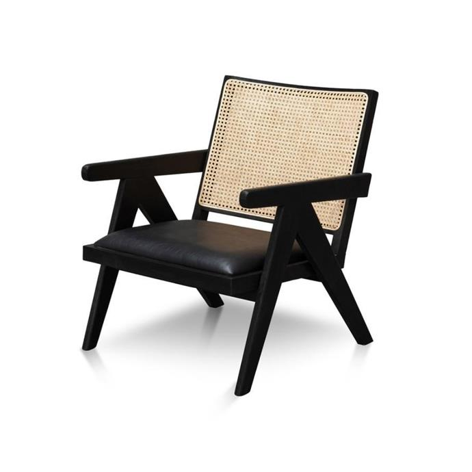 "**'Castro' rattan black armchair, $550, [Interior Secrets](https://www.interiorsecrets.com.au/products/castro-rattan-armchair-black|target=""_blank""