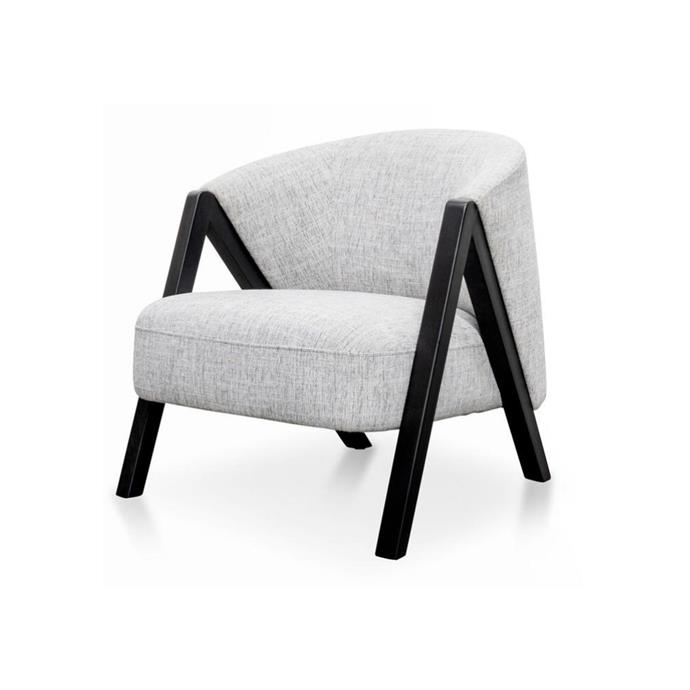 "**'Freddie' fabric armchair, $660, [Interiors Online](https://www.interiorsecrets.com.au/products/freddie-armchair-light-spec-grey-black-oak|target=""_blank""