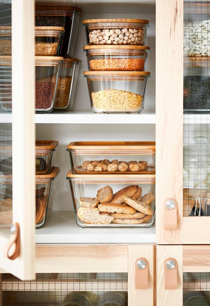 """Choosing clear containers like the glass and bamboo 365+ containers from [IKEA](https://www.ikea.com/au/en/cat/ikea-365-series-07694/