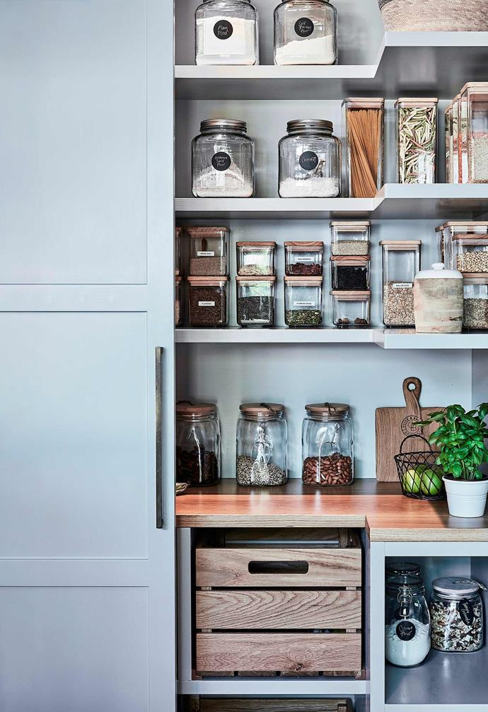 Line up canisters with space around them to access and keep things neat and tidy for longer.