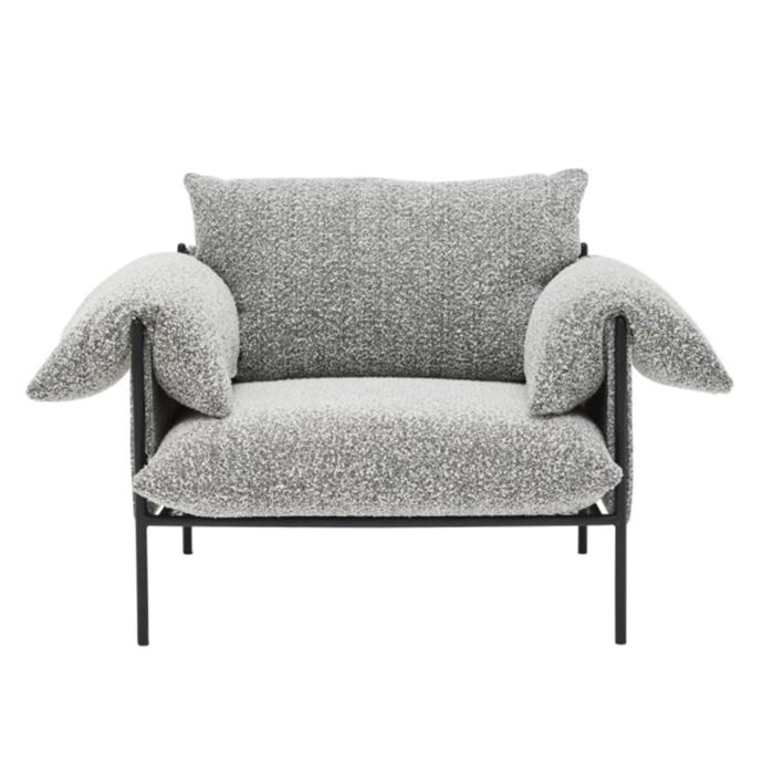 "**Sarah Ellison 'Alva' boucle armchair, $1595, [Life Interiors](https://lifeinteriors.com.au/collections/arm-chairs/products/sarah-ellison-alva-boucle-armchair-black-frame|target=""_blank""