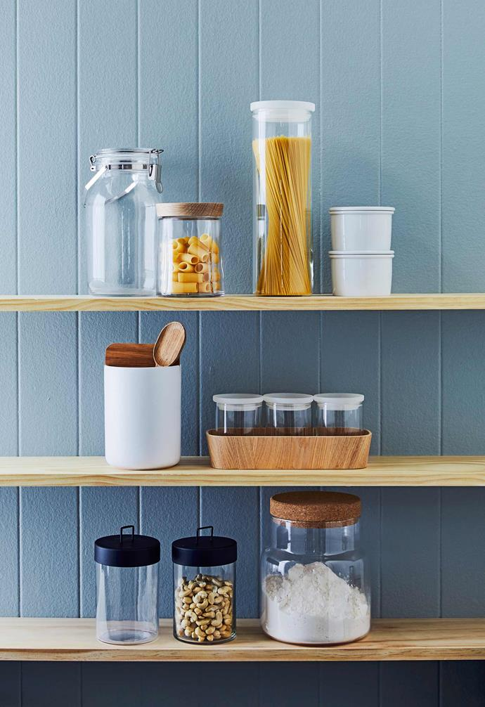 """Easy-access baskets and quality jars and containers like these [clever pantry storage systems](https://www.homestolove.com.au/pantry-storage-ideas-19585