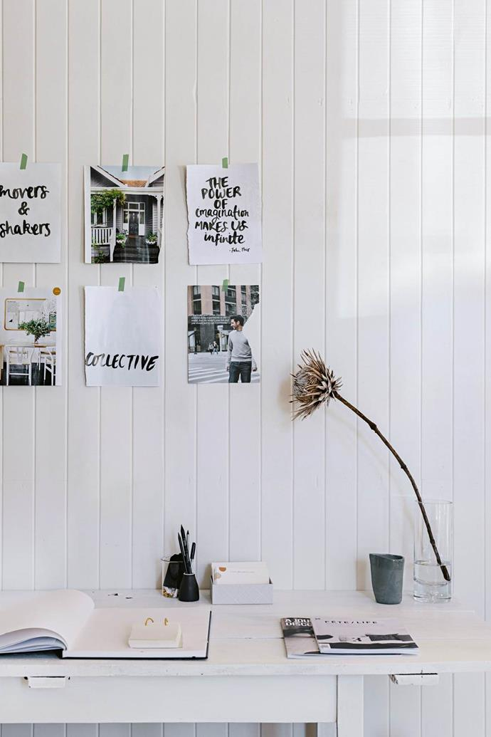 """**Upcycled style** <br> An old door was fashioned into a chic desk at the [converted courthouse home](https://www.homestolove.com.au/historic-courthouse-renovation-mixes-old-and-new-13923