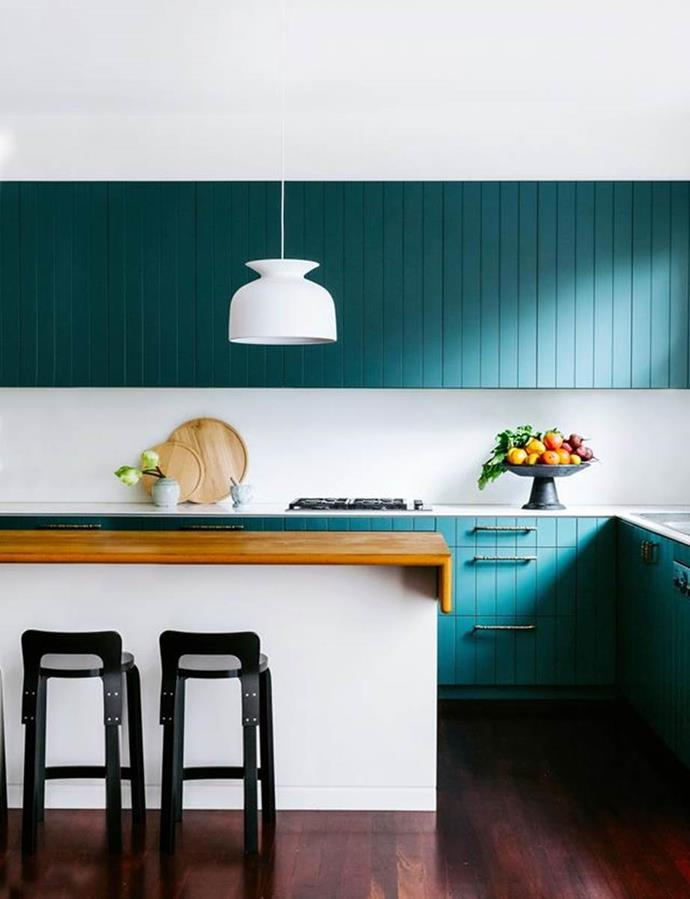 """A moody teal (Dulux Coriole) was applied to the joinery in this [California bungalow kitchen](https://www.homestolove.com.au/colourful-california-bungalow-by-arent-and-pyke-4946
