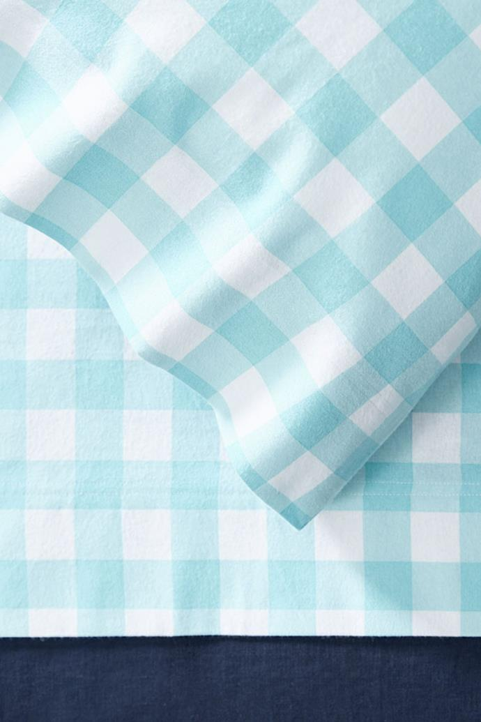 "**'Clooney' flannelette sheet set, starting from $55.99, [Bed Bath N' Table](https://www.bedbathntable.com.au/clooney-aqua-check-010101|target=""_blank""