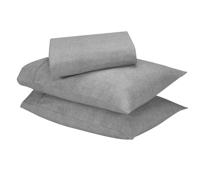 "**Marle cotton flanelette sheet set in light grey, $32 (double), [Kmart](https://www.kmart.com.au/product/marle-cotton-flannelette-sheet-set---double-bed,-light-grey/3440811|target=""_blank""