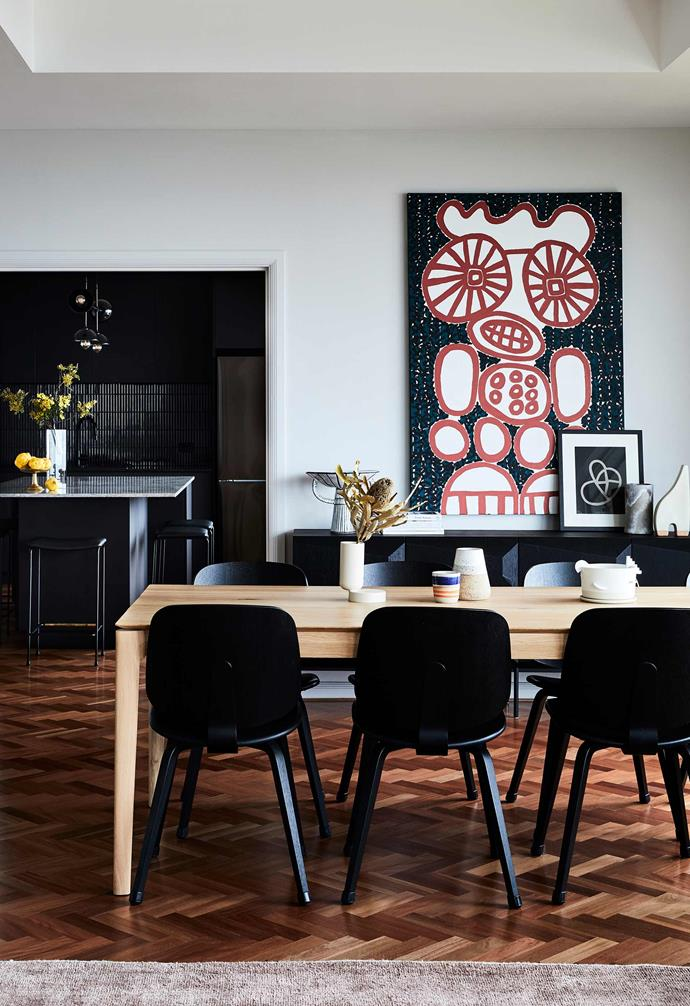 """**Dining area** Josie commissioned the two-tone art piece from [Punch Gallery](https://punch-gallery.com.au/