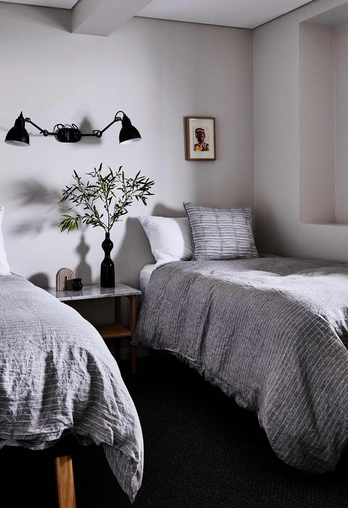 """**Guest room** A DCW Editions wall lamp from [Spence & Lyda](https://www.spenceandlyda.com.au/