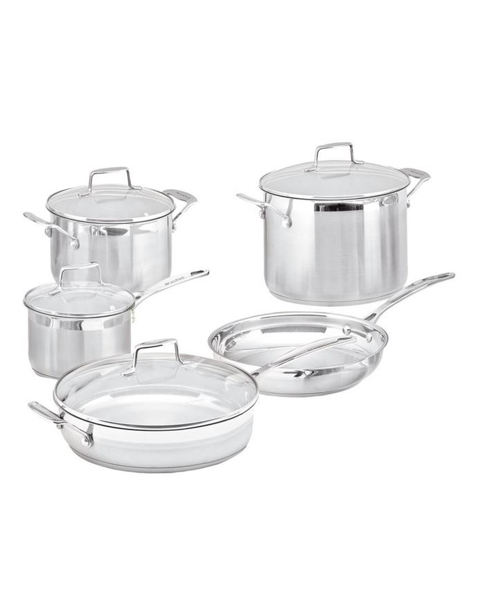 """All hosting kitchens require enough **pots and pans** to create your culinary masterpieces. Consider investing in a good quality cookware Scanpan set like this one, because they'll last you years.<br> <br> Scanpan Impact 5 Piece Cookware Set, $665, [Myer](https://www.myer.com.au/p/scanpan-impact-5-piece-cokware-set