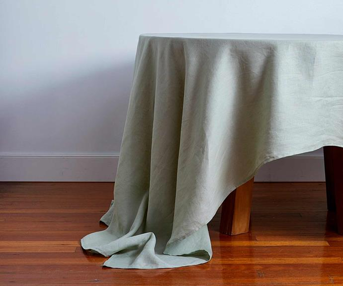 "**100% Linen Tablecloth in Sage, from $100, [Bed Threads](https://bedthreads.com.au/collections/tablecloths/products/100-linen-tablecloth-in-sage?variant=34859113087110|target=""_blank""