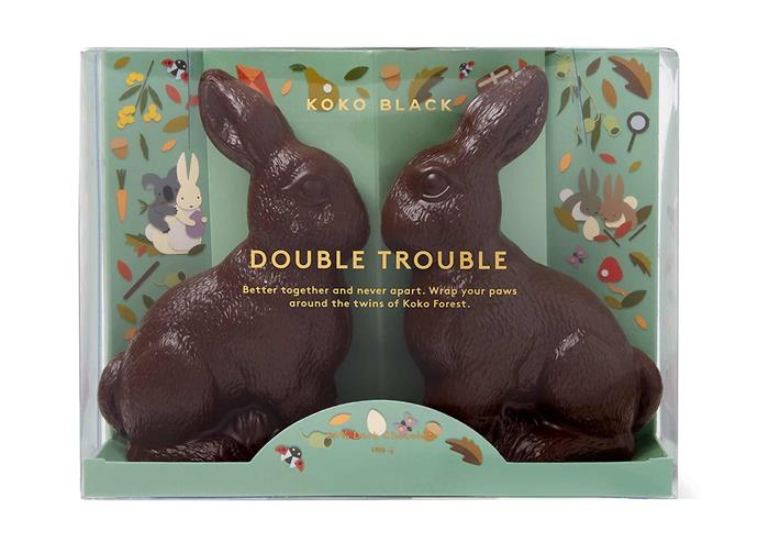 "**Double Trouble 54% Dark Chocolate, $30, [Koko Black](https://www.kokoblack.com/products/double-trouble-54-dark-chocolate|target=""_blank""