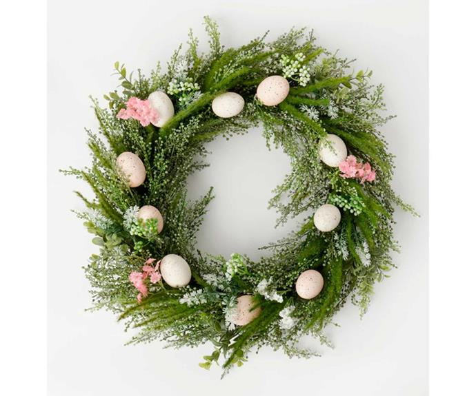"**Heritage Faux Vine & Egg Wreath 55cm, $52.46, [Myer](https://www.myer.com.au/p/heritage-heritage-faux-vine-egg-wreath-55cm|target=""_blank""