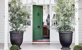 Green front door to white farmhouse