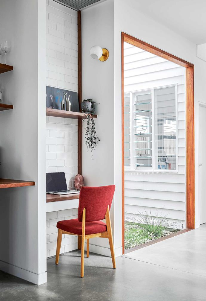 """**Study nook** For a pop of colour at the desk, Amelia selected a sleek Amund dining chair from [Zanui](https://www.zanui.com.au/