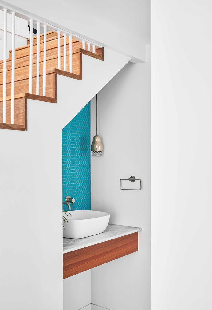 """**Under stairs** Charlie chose a compact Grace basin by [Argent](https://www.argentaust.com.au/