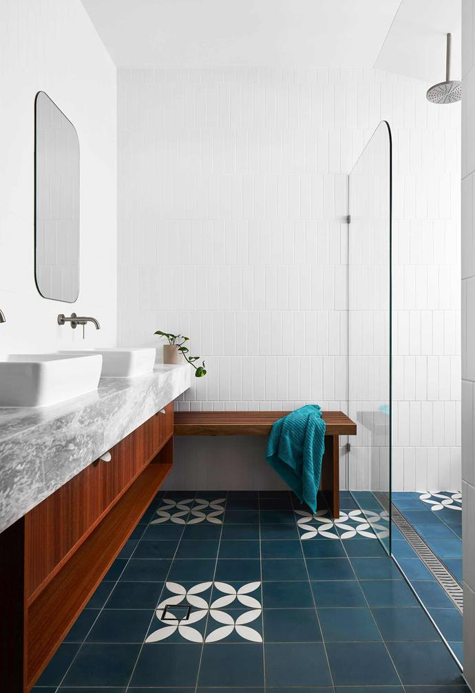 """**Bathroom** Spotted-gum cabinetry, an Elba stone top from [Artedomus](https://www.artedomus.com/